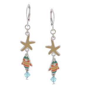 qvc Silvertone Starfish Fish Dangle Earrings